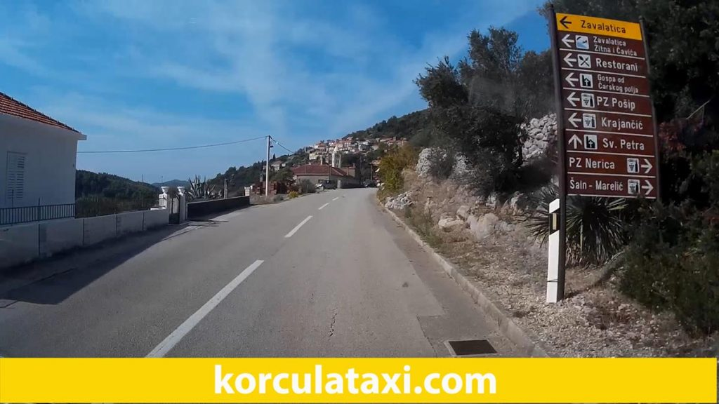 Road approaching Cara on Korcula island